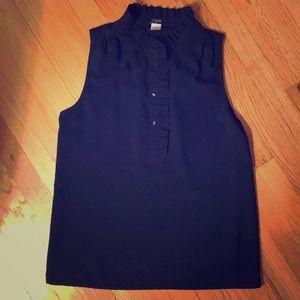 JCrew navy sleeveless blouse